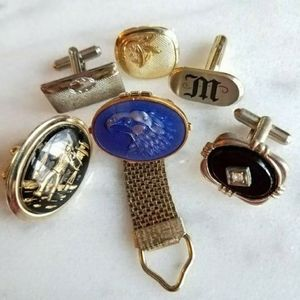 Lot of single cuff links enamel gold tone silver t